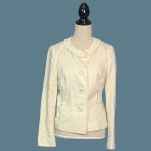 Boden   Cream Ruffle Collar Blazer Jacket Button